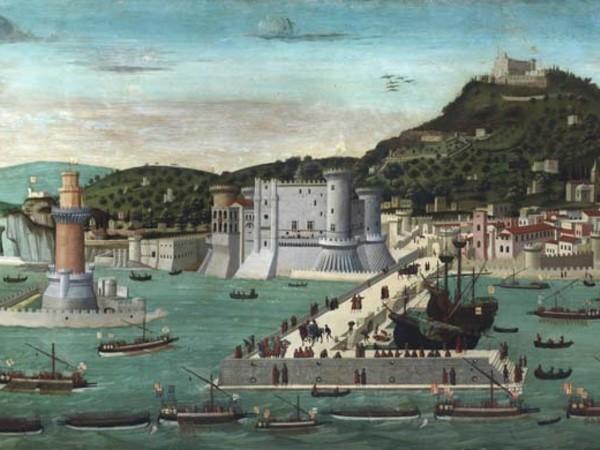 Francesco Pagano (Attr.), Tavola Strozzi (Veduta della città di Napoli con il ritorno della flotta aragnese dopo la Battaglia di Ischia, Tempera u tavola, 245 x 82 cm, Napoli, Museo di San Martino