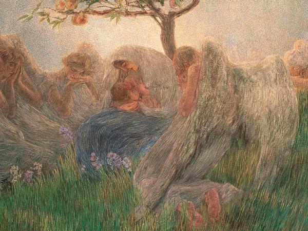 Gaetano Previati Maternità, 1890-1891 olio su tela, 175,5x412 cm, firmato in basso a destra. Banco BPM