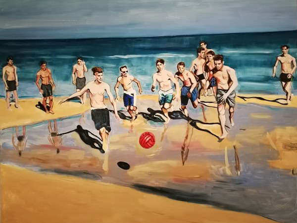 Linda Randazzo, Supersantos, 2019, olio su tela, 185x210 cm.
