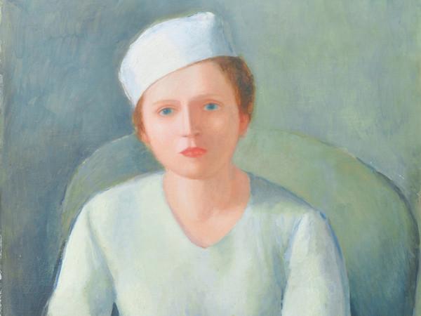 Virgilio Guidi, Donna dalla cintura rossa, 1934 circa, Olio su compensato, 72.2 x 90 cm