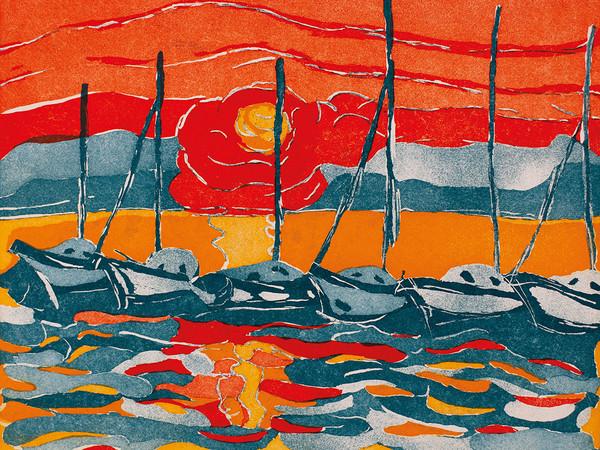 Gianna Lampe, Tramonto, 1989, acquaforte acquatinta, cm. 50x70