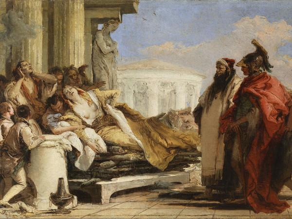 Giambattista Tiepolo, La morte di Didone, 1757-1760, olio su tela, 40x63 cm. Mosca, Museo Pushkin
