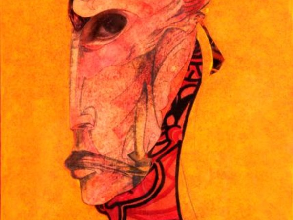 Antonio Lombardo, La maschera dell'inquietudine, tecnica mista su carta, cm20x29