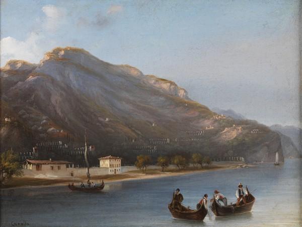 Giuseppe Canella, Limone lago di Garda, (1845), olio su tela, 30x40 cm. MAG Museo Alto Garda