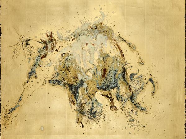 Christian Balzano, Io siamo insolenza, 2017, tecnica mista su lamine su tela, cm 118x146