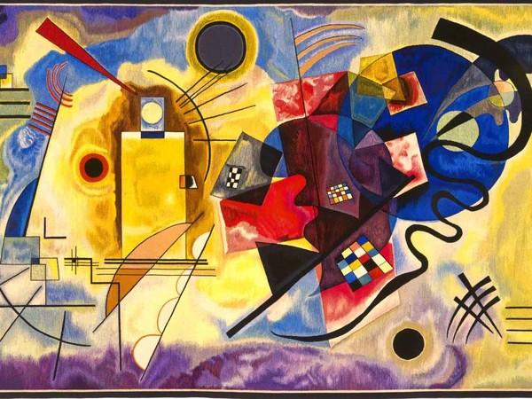 """Vasilij Kandinskij, Giallo, rosso e blu, arazzo ad """"alto liccio"""" in lana, cm.190x304. Tessitura: Arazzeria Scassa. Museo egli Arazzi Scassa, Asti"""