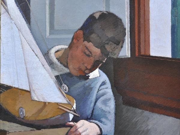 Oscar Ghiglia, Paulo con la barca, 1918, olio su tela, cm. 63x63
