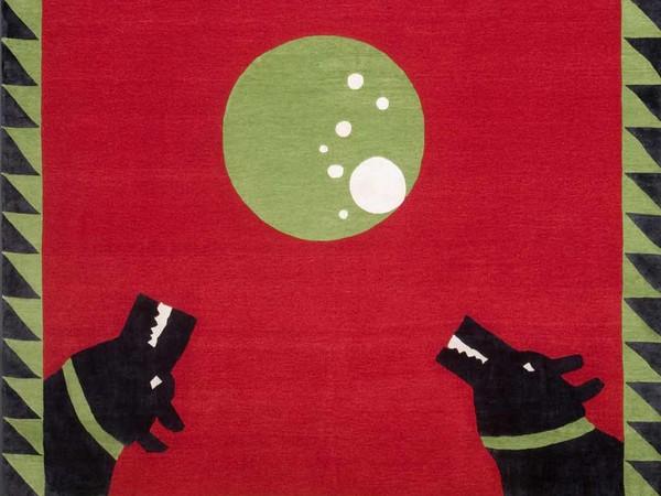 Angela De Nozza, Circle, Tappeto annodato a mano con tecnica tibetana fatto realizzare dalla Galleria Boralevi di Firenze, 250 x 300 cm