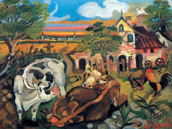 Antonio Ligabue , Fattoria con animali, olio su tavola di compensato, 1943-1944, 30x40 cm.