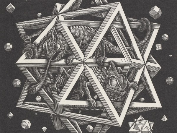 Maurits Cornelis Escher<em>, Stelle,&nbsp;</em>1948.&nbsp;Xilografia,&nbsp;32x26 cm.&nbsp;Collezione Gemeentemuseum Den Haag&nbsp;<br />