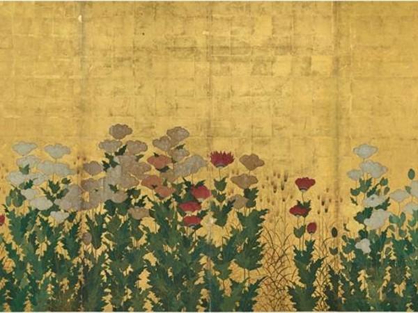 Kano Shigenobu, Spighe di grano e papaveri, prima metà del XVII secolo. Paravento sinistro