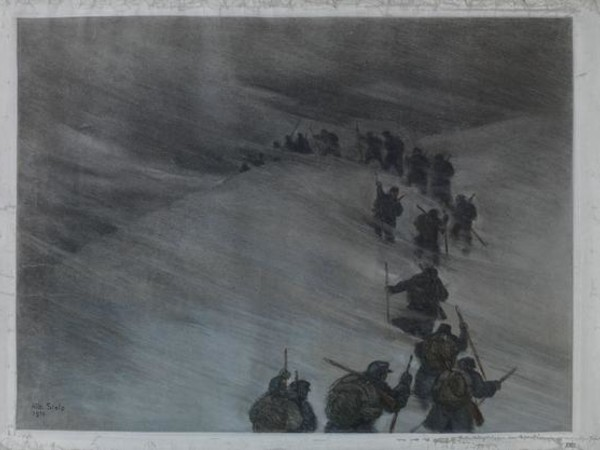 Albert Stolz, Rinforzi nella bufera di neve, pastello, 1916