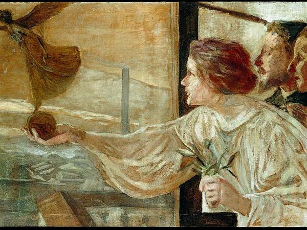 Galileo Chini, La fabbrica, 1901, olio su tela, 66X172 cm. Wolsonina