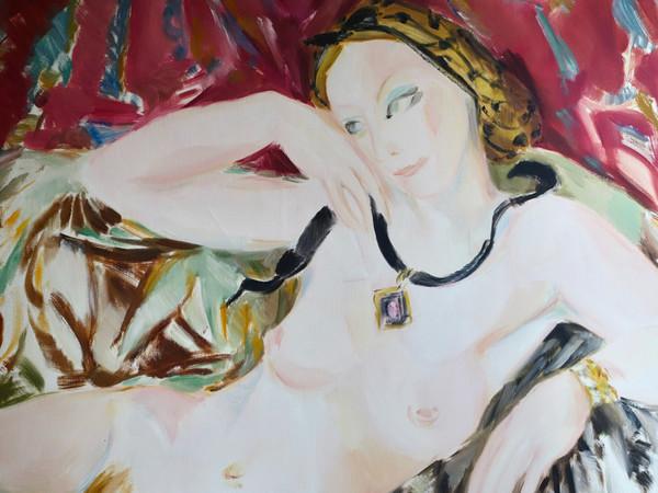 Danièle Lorenzi Scotto, Marie-Christine con la collana, olio su tela, cm. 80x100