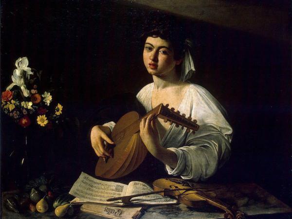 Caravaggio, Suonatore di liuto, olio su tela, cm 100x126,5. Ermitage, San Pietroburgo