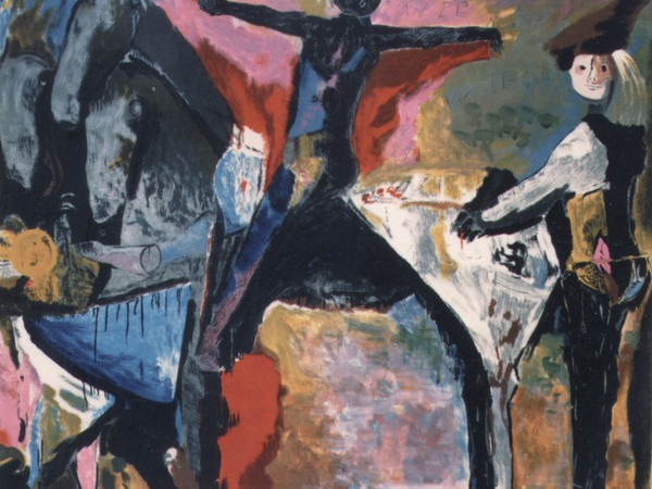 Marino Marini, Grande teatro delle maschere, 1979, litografia a colori, cm. 63,50x78