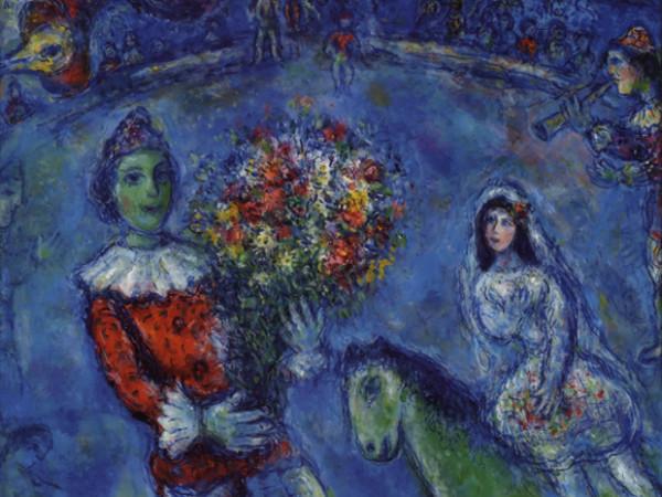 Marc Chagall, <em>Le Coq Violet</em>, 1966-72, olio, tempera e inchiostro su tela, 78,3x89,3 cm. Collezione privata, Svizzera