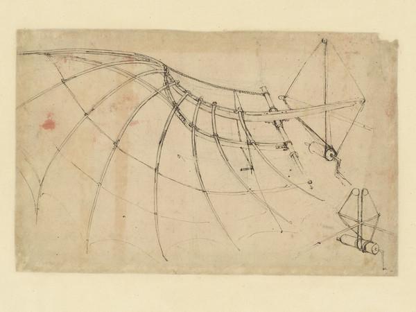 Leonardo da Vinci (1452-1519), Codice Atlantico (Codex Atlanticus), Foglio 858 recto, Ala coperta con un panno e mossa con verricello a manovella, In basso a destra, particolare del verricello   © Veneranda Biblioteca Ambrosiana / Mondaori Portfolio
