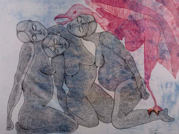 Zehra Doğan,<em> Kus Kadinlar (Bird Woman)</em>, 2019, Tarsus Prison, Penna a sfera su foglio, 150 x 142 mm | Foto: Jef Rabillon