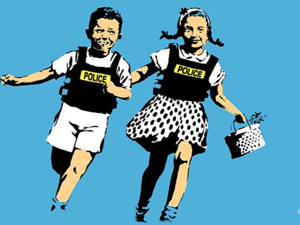 Banksy, <em>Jack and Jill (Police Kids)</em>, 2005