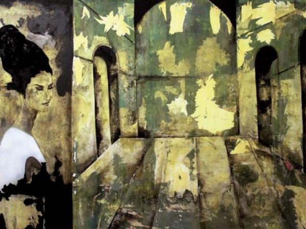 Pedro Fiol. Second Life #4 (120 x 180 cm) 2013, tecnica mista su tessuto usato