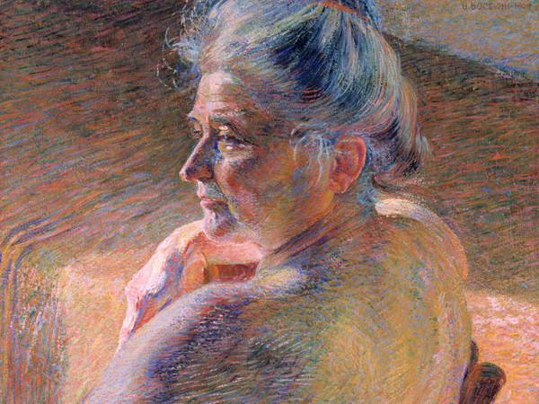 <span><span>Umberto Boccioni,</span><em>Nudo di spalle (Controluce)</em><span>, 1909, olio su tela, 61 x 55,5 cm. Mart, Collezione L.F.</span><span>© Mart, Archivio fotografico e Mediateca</span><br /></span>