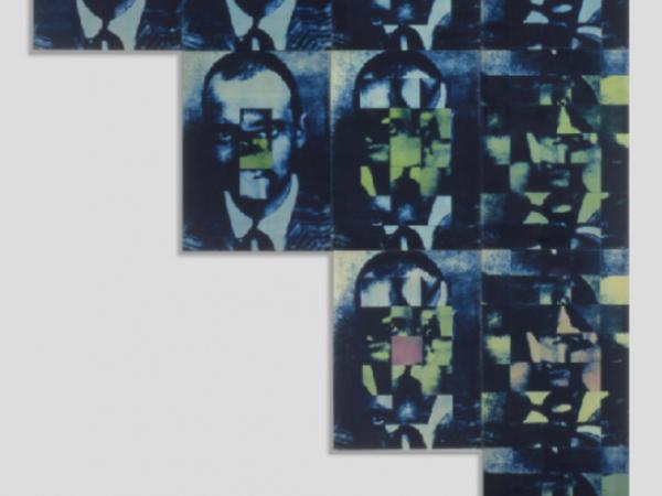 Bruno Di Bello Ritratto di Paul Klee, 1968, tela fotografica, viraggio blu, 280x200 cm. Collezione privata