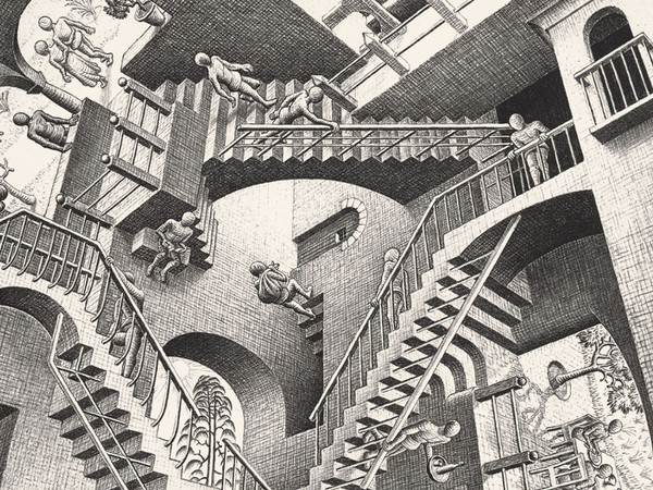 Maurits Cornelis Escher,<em> Relatività</em>, 1953 Litografia, 29.2 x 27.7 cm, Collezione privata, Italia | All M.C. Escher works © 2019 The M.C. Escher Company | All rights reserved www.mcescher.com