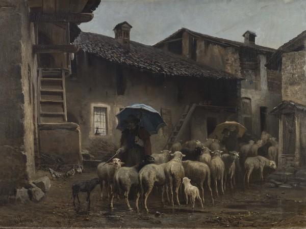 Carlo Pittara, 1891 Ritorno alla stalla (La ritirata), 1866 ca. Olio su tela, 86 x 116 cm. P/374. Torino, GAM-Galleria Civica d'Arte Moderna e Contemporanea