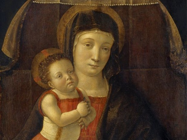 Giovanni Bellini, Madonna col Bambino, 1455 circa, Tempera su tavola, 32 x 50 cm, Musei Civici, Pinacoteca Malaspina, Pavia
