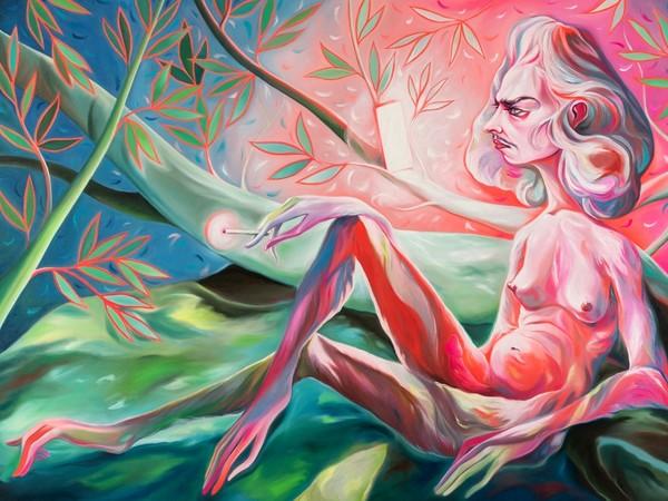 Luigi Presicce, Maddalena al telefono, 2020, olio su tela, 100x80 cm.