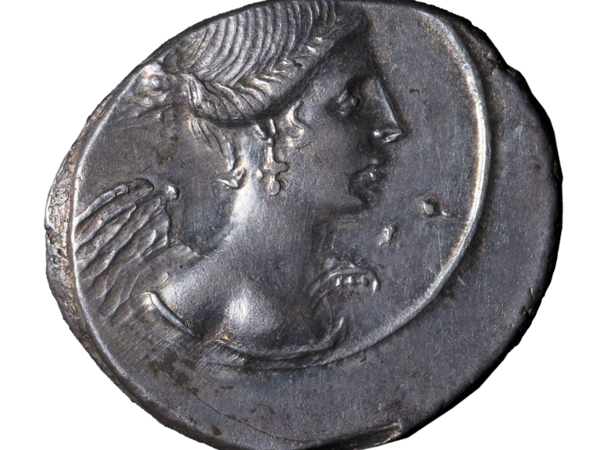 Roman silver denarius with figure of the goddess of Victory for Octavian