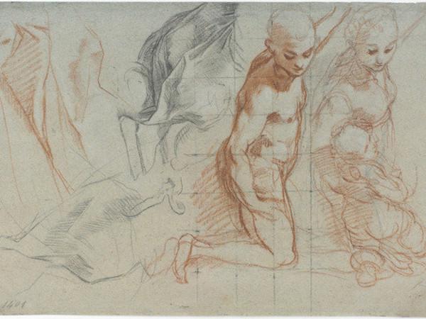 """Federico Barocci, Due studi di figura, una nuda e l'altra vestita con putto fra le braccia (per la """"Madonna del Popolo"""", Firenze, Galleria degli Uffizi); studi di panneggi, 1575-1579"""