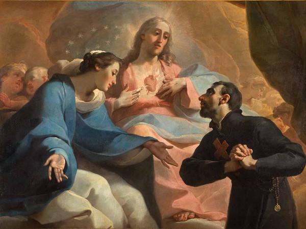 Ubaldo Gandolfi, San Camillo de Lellis in adorazione del Sacro Cuore di Gesù con la Vergine e un angelo (part.)