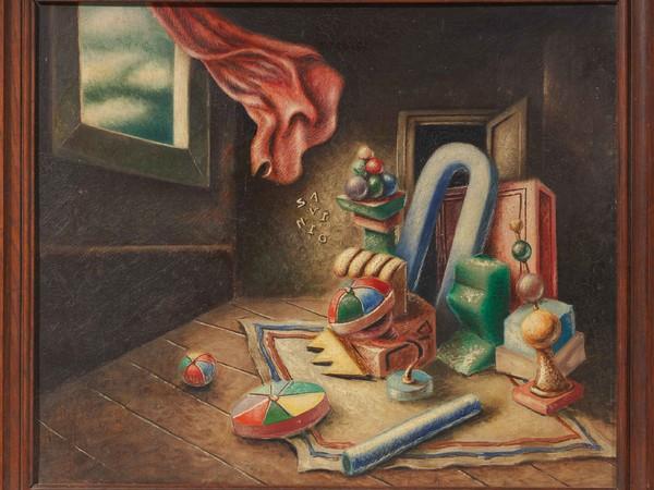 Alberto Savinio, Les Prisonniers (IIème version), 1931, olio su tela, cm. 46,5x55