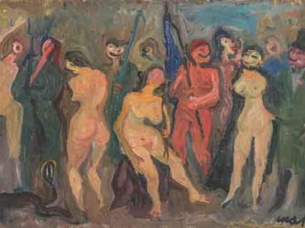 Mario Mafai, Corteo (la guerra è finita), (Fantasia n. 22), olio su tela, cm. 34,5 × 54,7. Milano, Pinacoteca di Brera, Sala 18