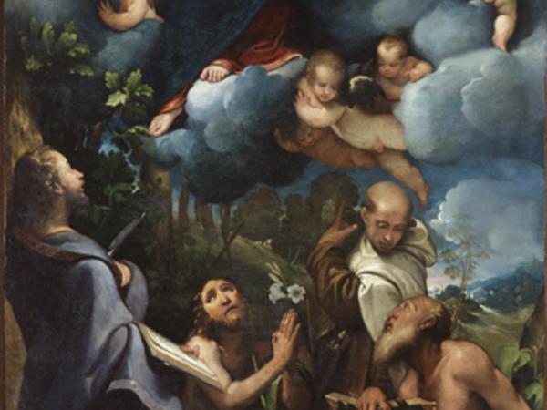 Camillo Boccaccino, Madonna con il Bambino in gloria e i Santi Bartolomeo, Giovanni Battista, Alberto e Gerolamo, 1532, olio su tela (particolare)