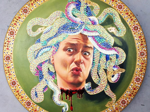 "<span lang=""IT"">Murat Urlali, '</span>The Gift of Art, Medusa, At least tell me that I look OK'... After Michelangelo Merisi Da Caravaggio, 2017.Oil, enamel, acrylic, gold liner, rhinestones, sequins, glitter, gold leaf on wood panel, 60cm diameter"