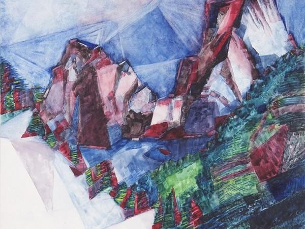 Giovanni Testori, Cime (Pizzo Badile visto da Bondo CH), 1972, acquerello su cartoncino, 50x40 cm.