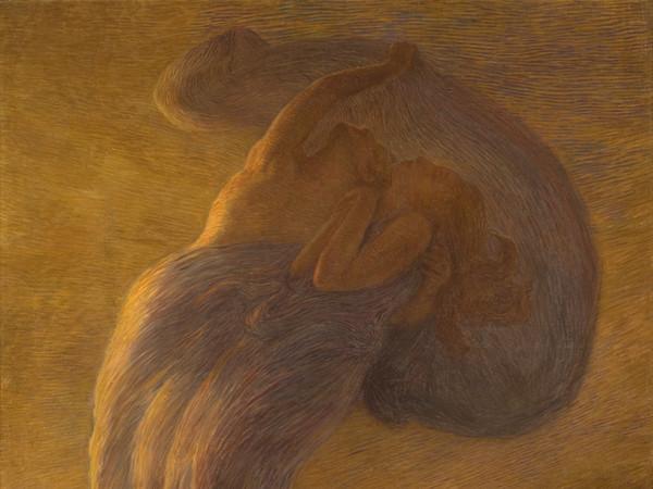 Gaetano Previati (Ferrara, 1852 - Lavagna, 1920), Il sogno, 1912, Olio su tela, 225 x 165 cm, Svizzera, Collezione privata