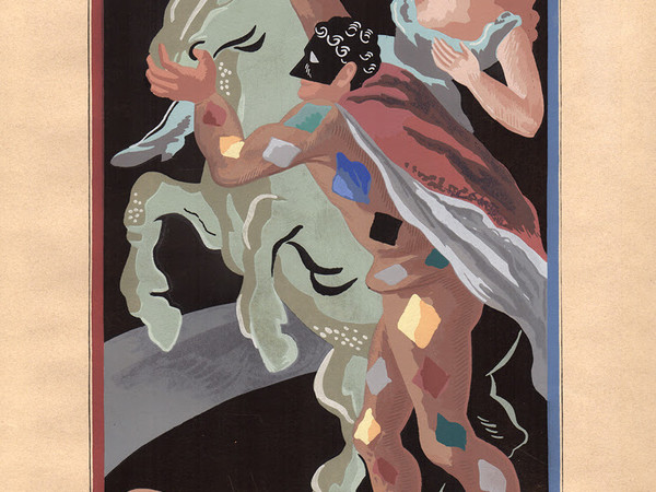 Gino Severini, Les prouesses d'Arlequin. Pouchoir su carta, cm. 46x32,3