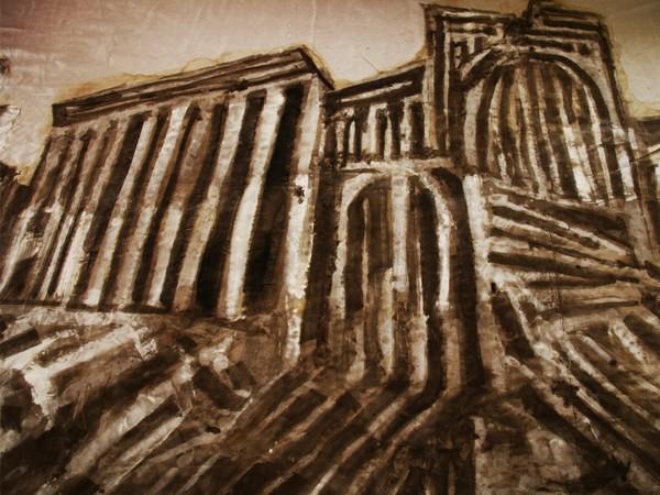 Franca Pisani, Palmira, teatro romano, ossidi e lacche su tela, 2017