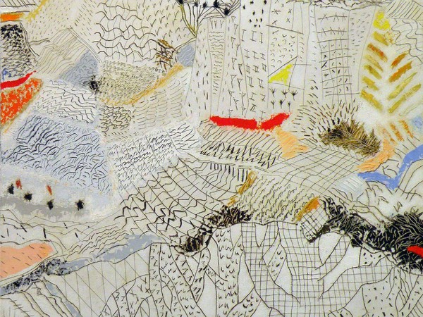 Tullio Pericoli, Combinazioni, 2012, olio su tela, cm. 40x40