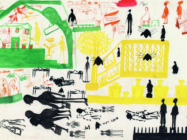 Carlo Zinelli, Cammello con serpente nella pancia e uomo con spada  (lato A), 1970. Tempera e matite colorate su carta, cm. 50x70