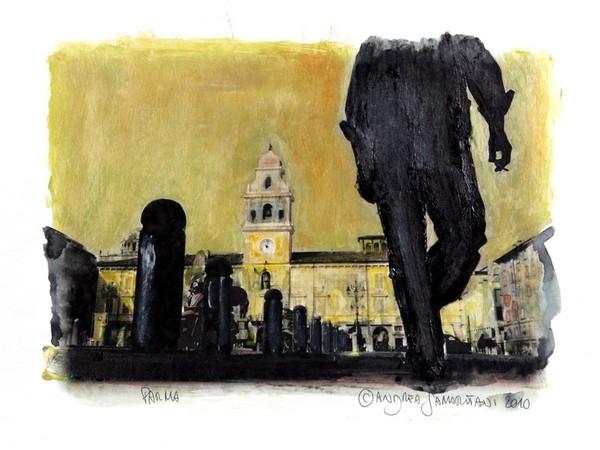 Andrea Samaritani, Piazza Garibaldi, Parma, 2010, fotodipinta su pannello di legno, cm. 33x48
