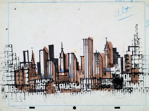 Pino Pascali, 1963, New York, timbri, matite e china su carta, cm. 25x35,4