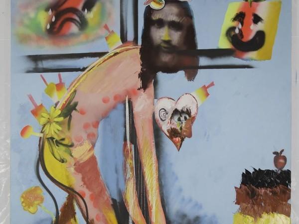 Alessandro Pessoli, Me and Him, 2020, olio pittura spray e acrilico su tela, 140x196 cm.