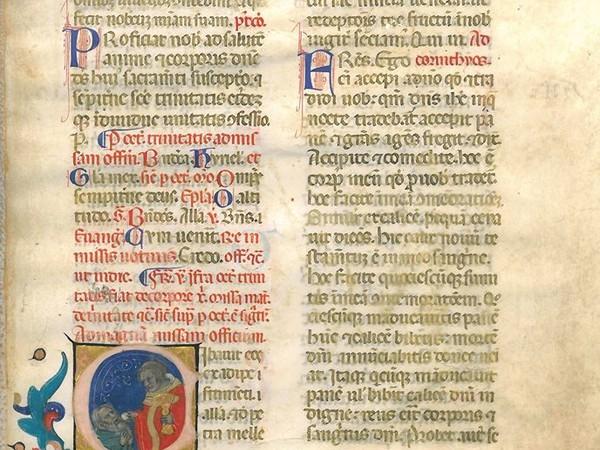 La Comunione, foglio manoscritto su pergamena con miniatura attribuibile a Nicolò di Giacomo, il più famoso artista della scuola bolognese del XIV secolo (Solmi Studio Bibliografico)