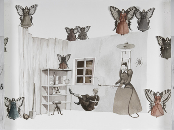Vanni Cuoghi, La disinfestazione dai buoni propositi, 2011, acquerello e collage su carta, cm. 52x95