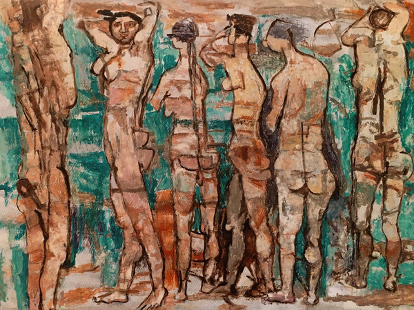 Fausto Pirandello, Bagnanti, 1972, olio su cartone, cm. 72x1015